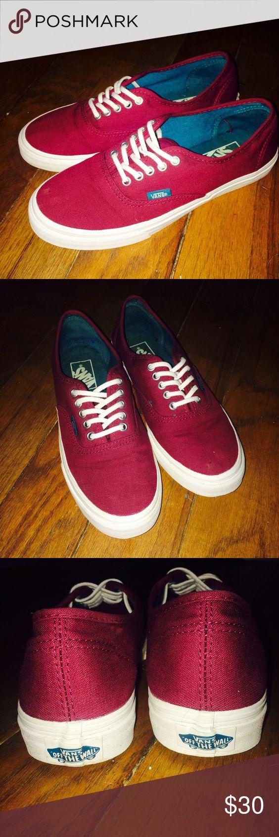 Garnet Red Vans Garnet Red Vans, worn once. Size 7 women/5 men. Bought at $60, selling for $30. Vans Shoes Sneakers