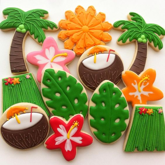 Tropical Beach Party Cookies - Vanilla Art Cookies