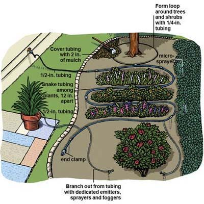 Save water and help your plants beat the heat with an easy-to-install drip irrigation system. | Illustration: Gregory Nemec | We show you how @ thisoldhouse.com
