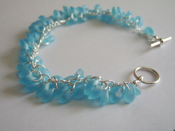 Light Blue Frosted Bracelet, Silver Plated Tggle Clasp, £12-00 inc P&P