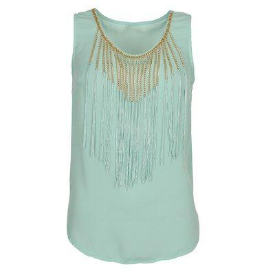 Craquez pour des couleurs estivales avec ce top en voile, rehaussé de chaines et de franges sur le devant. Encolure arrondie, sans manche.