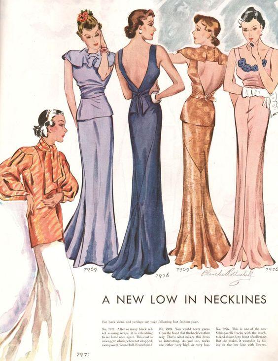 What-i-found: Слит Hemlines, нарязани гръбчета, ниски шипове - вечерни рокли - 1934