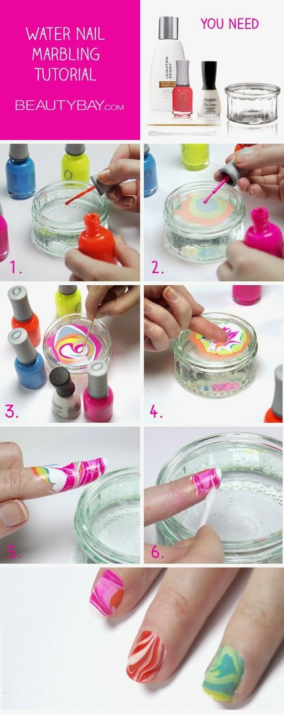 Tutorial: Water Marble Nail Art. This is fantastic. Will post a pic when I try it at home