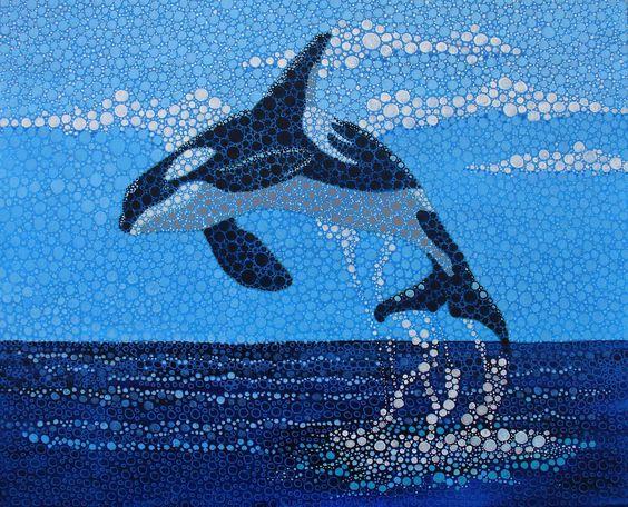 Ballena orca acr lico sobre lienzo pinturas - Acrilico sobre lienzo ...