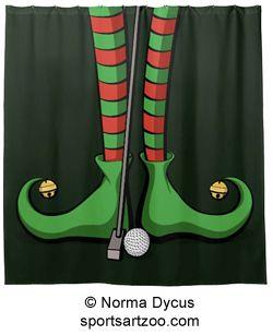 Christmas Golf Elf Feet Shower Curtain by SportsArtZoo #golf #Christmas #decoration