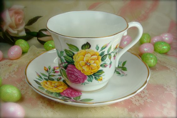Beautiful Pink and Yellow Roses Porcelain by HappyGalsVintage