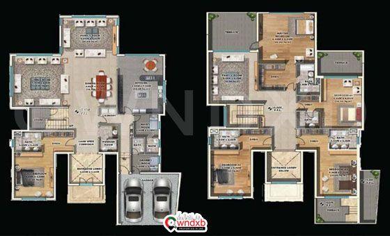 4 Brs Al Furjan Villas At The Estate Residence Floor Plan Floor Plans Villa Residences