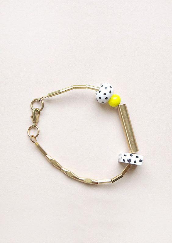 Beaded Bracelet in Yellow and Monochrome by Loela