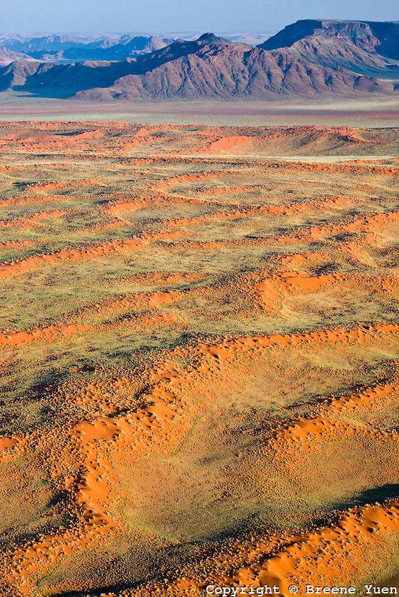 aerial view, Namib Desert red sand landscape, Namibia