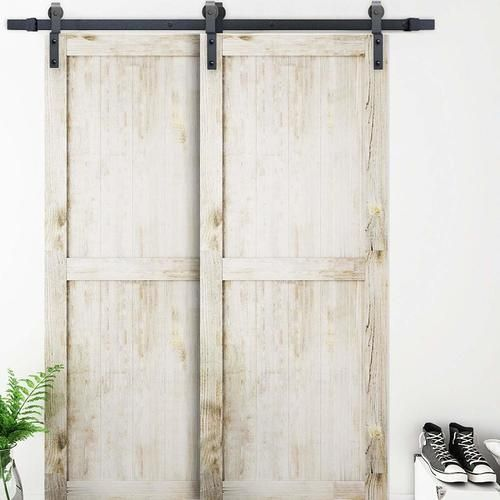 78 Single Track Bypass C Sliding Barn Door Hardware Kit Double Sliding Barn Doors Barn Door Closet Bypass Barn Door