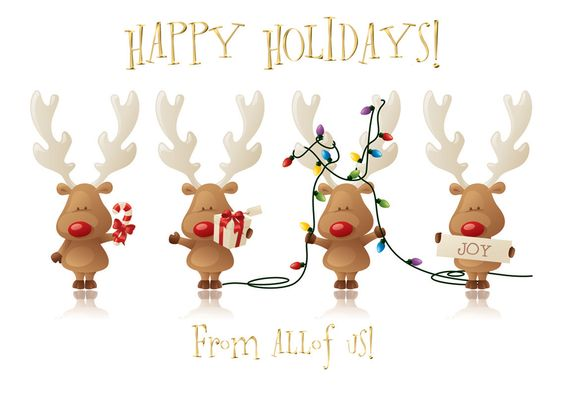 Cheery Reindeer From All Of Us Holiday Card - Discount Greeting Cards