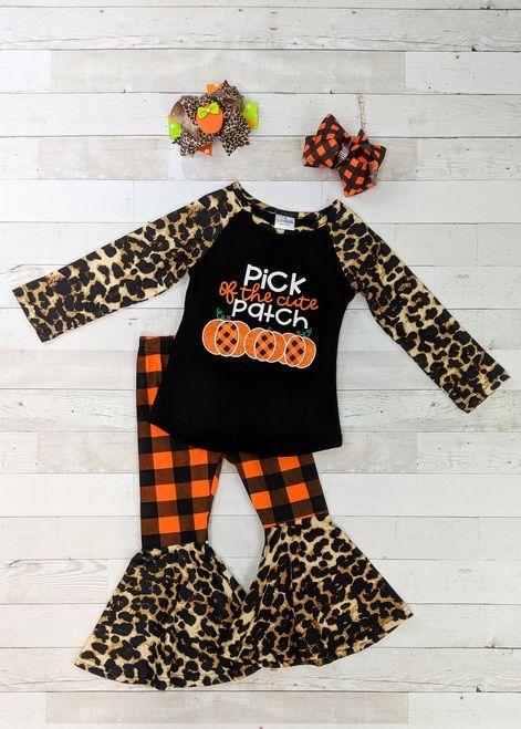 Toddler Kids Baby Girls Leopard Plaid Bell Bottom Pants Fall Clothes Outfit