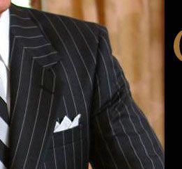 pinstripe suit.
