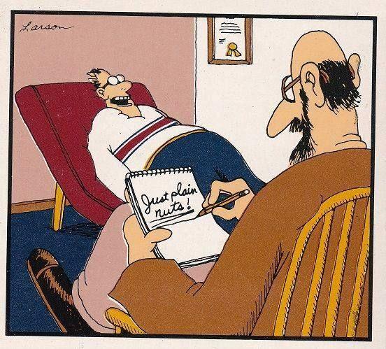 Just plain nuts   Funny cartoons, Gary larson cartoons, Social work humor
