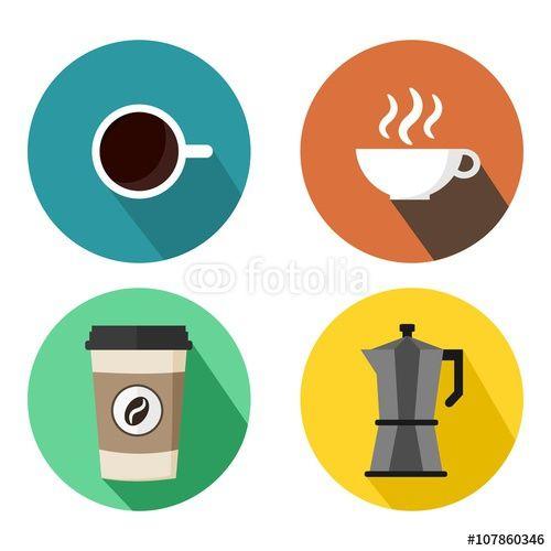 Vektor: Coffee Cups and Espresso Machine Set Of Round Flat Logo Vector Illustration