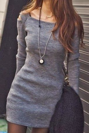 Adorable boat neck long sleeve comfy and cozy dress. Such a flattering neckline!: