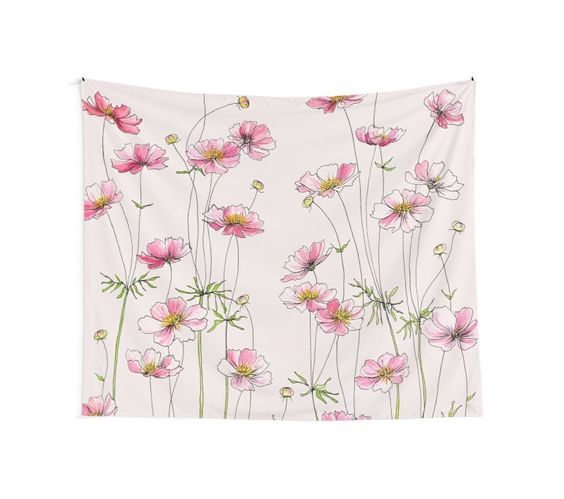 """Pink Cosmos Flowers"" Wall Tapestries by JRoseDesign 