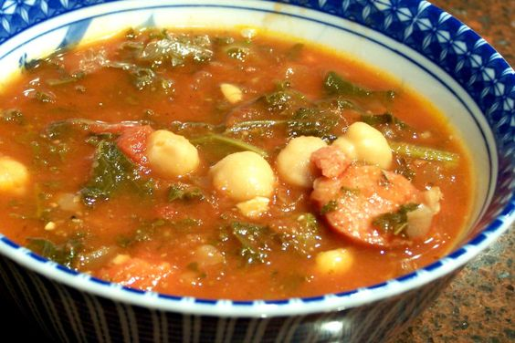 Caleb's Sausage, Kale & Chickpea Soup - used Sweet Italian Chicken Sausage uncased and browned an added parsley