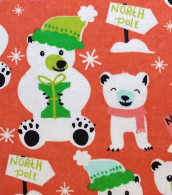 Snuggle Flannel Fabric North Pole Polar Bear