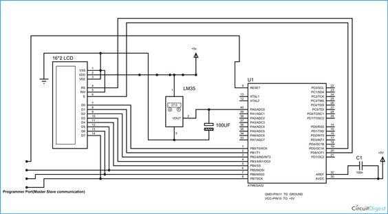 circuit diagram for avr based digital thermometer using