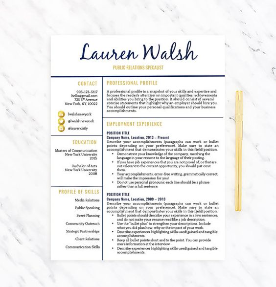 Professional Resume Template For Word  Instant Download  Mac