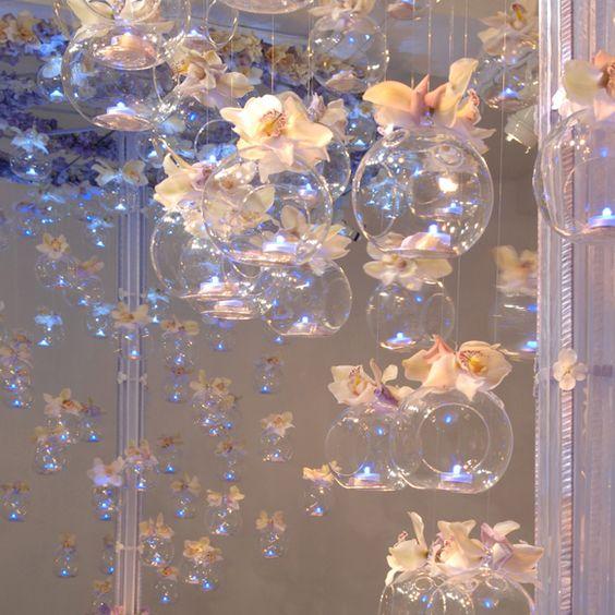 Hanging glass bulbs centerpiece option
