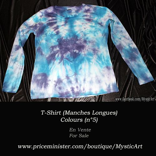 T-shirt Femme - Manches longues - Bleu clair/Blanc/Violet Taille L (38/40) En Vente/For Sale