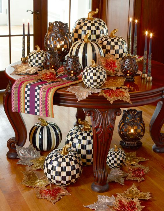 What we've all been waiting for! Courtly Check (and Courtly Stripe) Pumpkins, available in three sizes!: