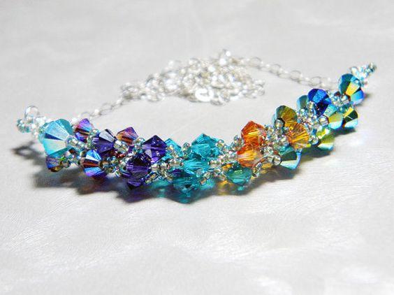 Saraswati Peacock Swarovski Crystal Necklace by WhimsyBeading, $35.00: Saraswati Peacock, Necklaces Pendants, Swarovski Crystal Necklace, Swarovski Crystals
