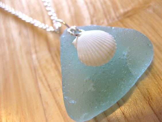 Hawaiian aqua beach glass with waimea bay scallop shell overlay