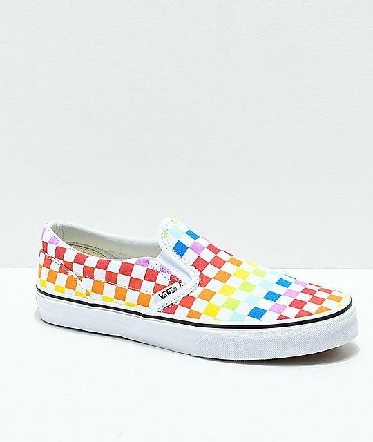 Vans Slip On Slip On Rainbow White Checkerboard Multi Color