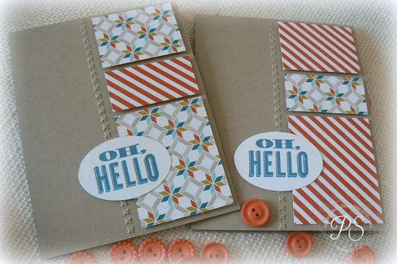A quick & easy card by Penny featuring Oh Hello, Sycamore Street dsp (SAB), Ovals framelits, & Needlepoint Border embossing folder.