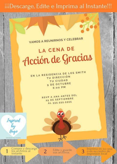 Invitación Cena Acción De Gracias Invitación Cena De
