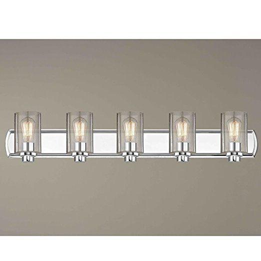 Industrial Seeded Glass Bathroom Light Chrome 5 Lt Amazon Com