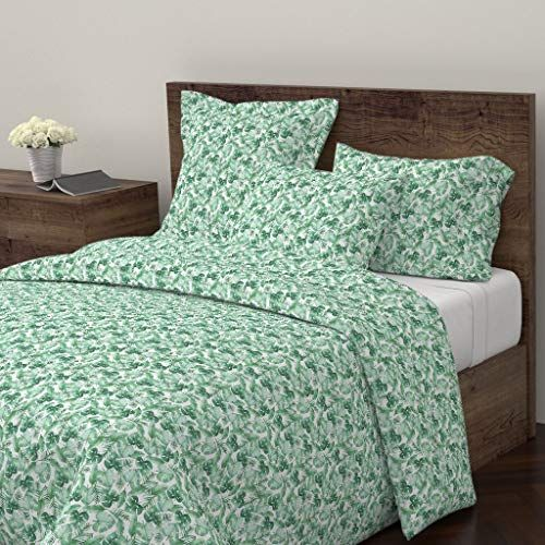 Roostery Green Duvet Cover Tropical Leaf Leaves Jungle Nature Ferns By Tangerine Tane 100 Cotton Twin Duvet Cover