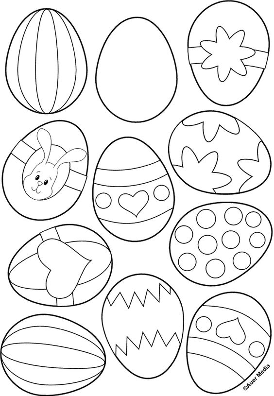 Easter Egg coloring page- color a few, then send the page to your child to color in the rest!: