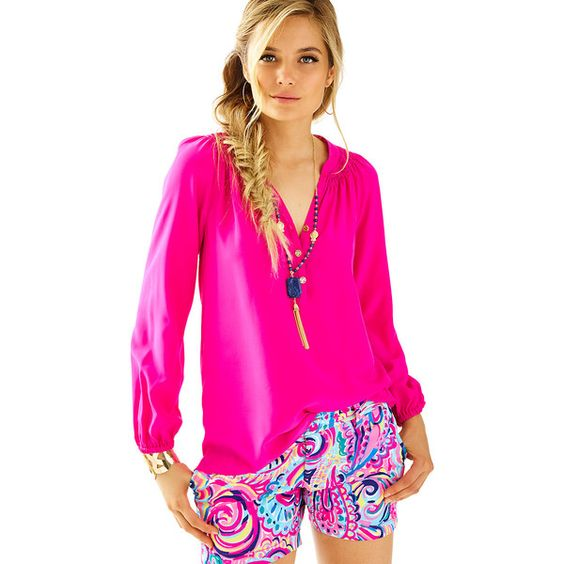 Lilly Pulitzer Elsa Top ($138) ❤ liked on Polyvore featuring tops, magenta, lilly pulitzer shirt, print shirts, pink silk shirt, round top and patterned tops