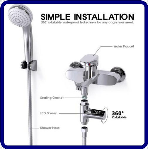 New LED Display Home Water Flow Faucet Shower Thermometer Temperature Monitor