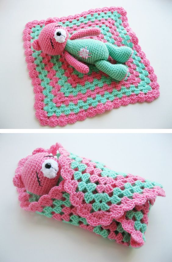 FREE crochet sleeping teddy bear pattern. This toy will calm down your little child and help to sleep peacefully!