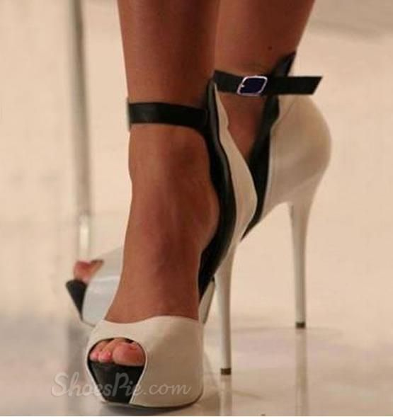 Black &amp White Contrast Colour Peep Toe High Heel | I Love Shoes