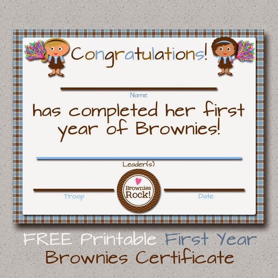 Since many Brownie troops are finishing up their school year in - first place award certificate