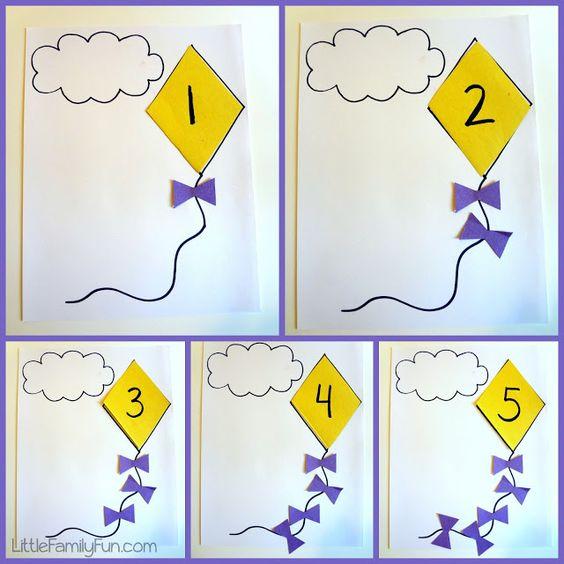 kite counting math activity for preschoolers preschool