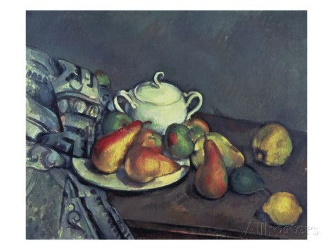 Still Life with Sugar Can, Pears and Tablecloth Giclee Print by Paul Cézanne at AllPosters.com