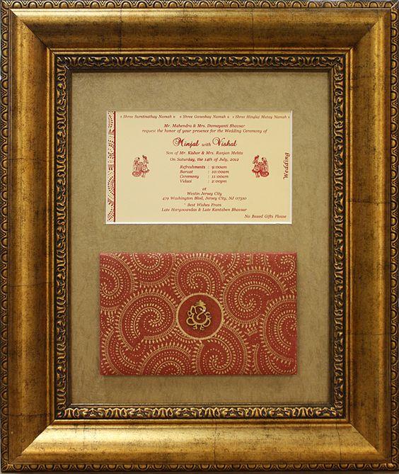 Framed Wedding Invitation From Indian Wedding. Great