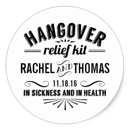 Hangover Relief Kit funny favor bag stickers for wedding reception