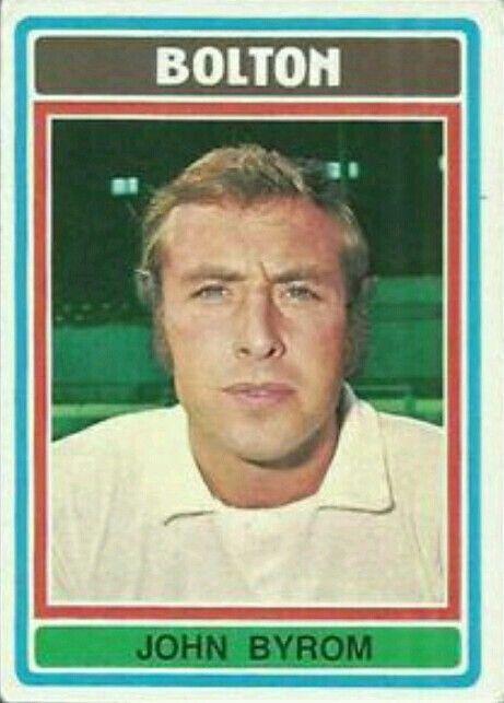 John Byrom of Bolton Wanderers in 1974.