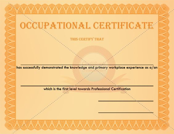 Occupational Certificate Checkered Template OCCUPATIONAL - membership certificates templates