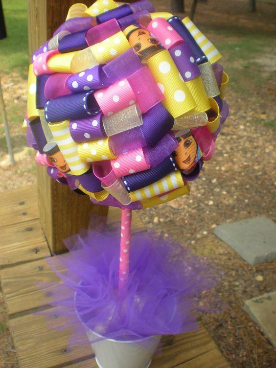 Purple Ribbon Centerpiece : Ribbon topiary in purple pink yellow centerpiece