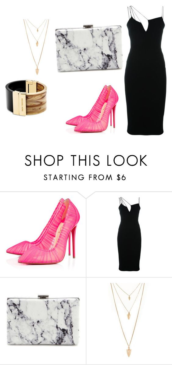 """""""night out"""" by starstorm ❤ liked on Polyvore featuring moda, Christian Louboutin, Victoria Beckham, Balenciaga, Forever 21 e Michael Kors"""