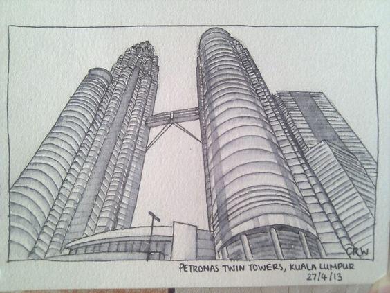 Petronas Twin Towers Kuala Lumpur Pen And Ink Drawing